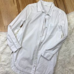 Athleta Long White Button Down Shirt